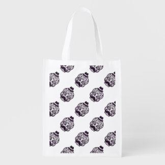 Sugar Skull with Fedora Hat Reusable Grocery Bag