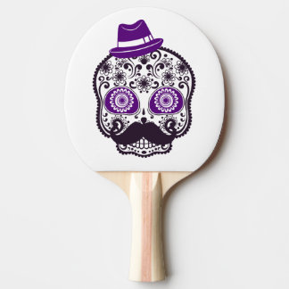 Sugar Skull With Small Purple Hat and Moustache Ping Pong Paddle
