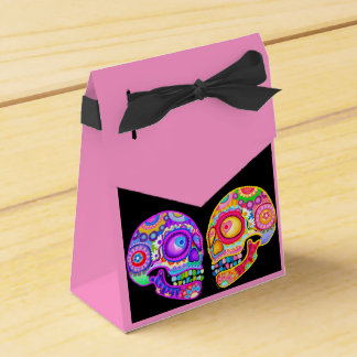 Sugar Skulls Couple Favor Box - Day of the Dead Party Favour Box