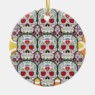 Sugar Skulls Round Ceramic Decoration