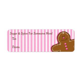 Sugar & Spice Gingerbread Gift Tag Label Return Address Label