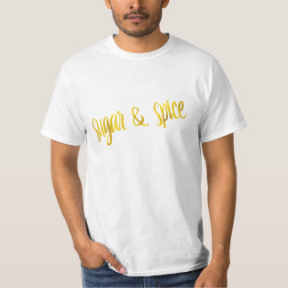 Sugar & Spice Quote Faux Gold Foil Glitter T-Shirt