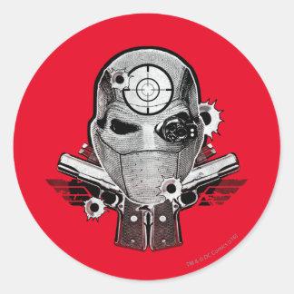 Suicide Squad | Deadshot Mask & Guns Tattoo Art Round Sticker