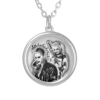 Suicide Squad   Joker & Harley Airbrush Tattoo Silver Plated Necklace