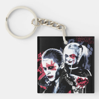 Suicide Squad | Joker & Harley Painted Graffiti Double-Sided Square Acrylic Key Ring