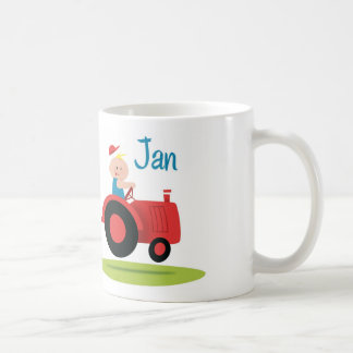 Sulk with baby in motor tractor basic white mug