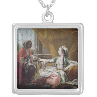 Sultana being offered coffee by a servant silver plated necklace