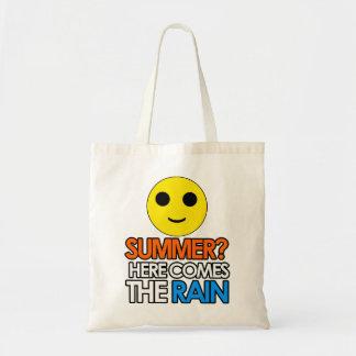 Summer and rain sarcastic message tote bag