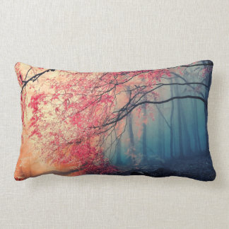 Summer and winter in the forest lumbar pillow
