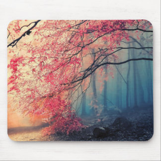 Summer and winter in the forest mouse pad