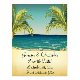 Summer Beach and Palm Trees Wedding Save the Date Postcard