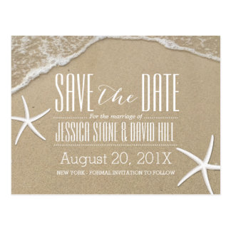 Summer Beach Starfish Wedding Save the Date Postcard