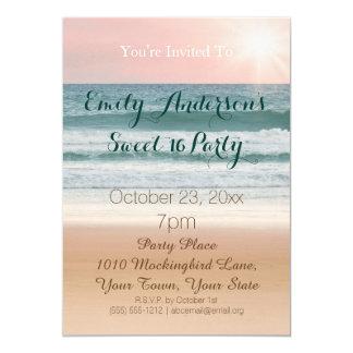 Summer Beach Theme Pink Sunset Sweet 16 Birthday 13 Cm X 18 Cm Invitation Card