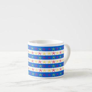 Summer Beach Theme Starfish Blue Striped Pattern Espresso Mug
