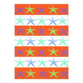 Summer Beach Theme Starfish on Orange Stripes Custom Announcements