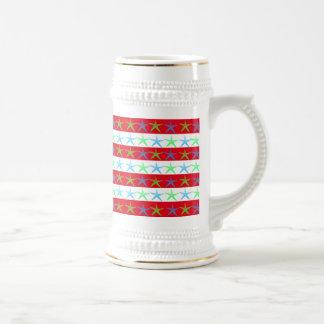 Summer Beach Theme Starfish on Red Striped Pattern Mugs