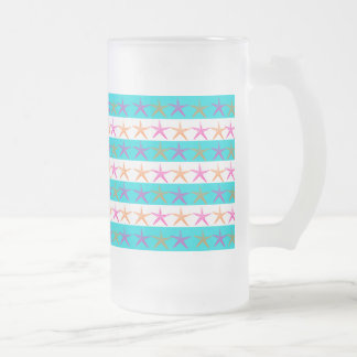 Summer Beach Theme Starfish on Teal Stripes Frosted Glass Mug