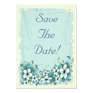 Summer Blue Floral & Butterflies Save The Date Card