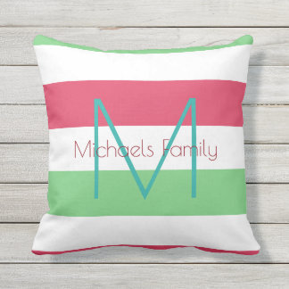 summer color stripes & personalized monogram cushion