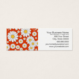 Summer Daisies on Bright Orange Mini Business Card
