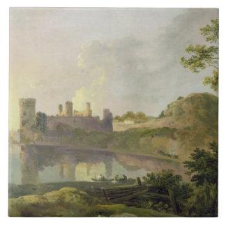 Summer Evening (Caernarvon Castle) c.1764-65 (oil Tile