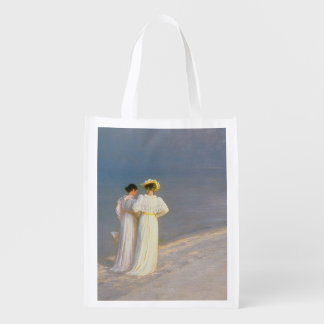 Summer Evening on the Skagen Southern Beach 2 Reusable Grocery Bags