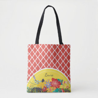 Summer Fiesta Red Floral Quatrefoil With Name Tote Bag