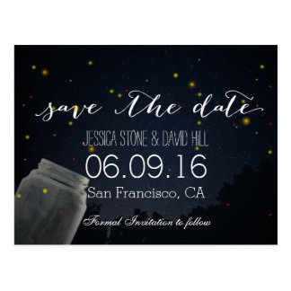 Summer Fireflies & Mason Jar Wedding Save the Date Postcard