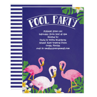 Summer Flamingo Pool Party Card