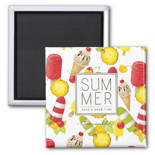 Summer Fruits and Ice-Cream Fun Square Magnet
