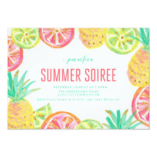 Summer Luau BBQ Party Invition Card