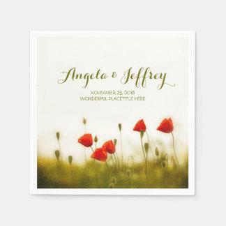 Summer meadow elegant poppies wildflowers disposable napkins