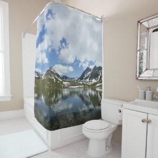Summer mountain landscape: lake cloud blue sky shower curtain