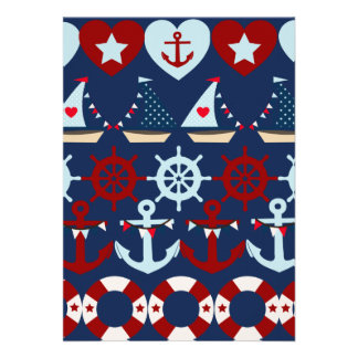 Summer Nautical Theme Anchors Sail Boats Helms Personalized Announcements