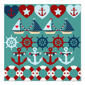 Summer Nautical Theme Anchors Sail Boats Helms Invitation