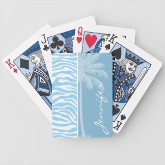 Summer Palm Baby Blue Zebra Animal Print Bicycle Playing Cards