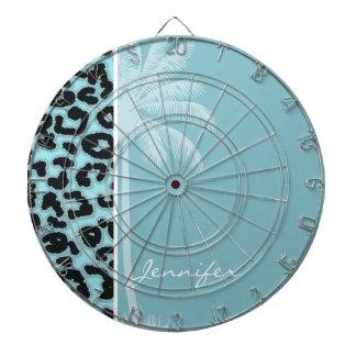 Summer Palm; Blizzard Blue Leopard Animal Print Dartboard