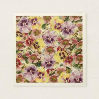 Summer pansies wildflower monogram disposable serviette