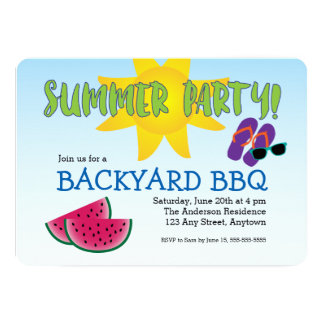 Summer Party Invitation with Watermelon & Sun