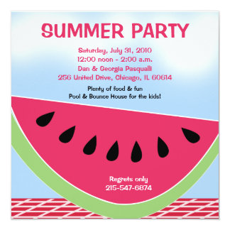Summer Party Picnic Watermelon 5x5 custom Card