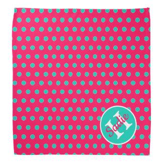 Summer Pink and Island Sea Polka Dot Monogram Bandana