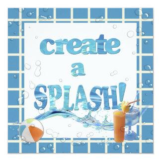 Summer Pool Party 13 Cm X 13 Cm Square Invitation Card