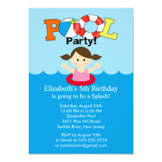 Summer POOL Party Birthday Invitation Girl