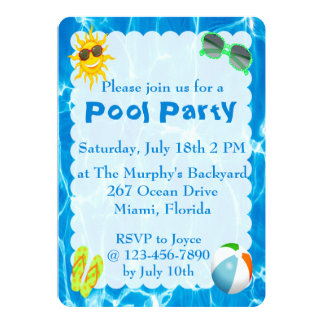 Summer Pool Party Invitations