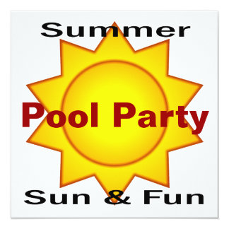 Summer Pool Party Sun and Fun 13 Cm X 13 Cm Square Invitation Card