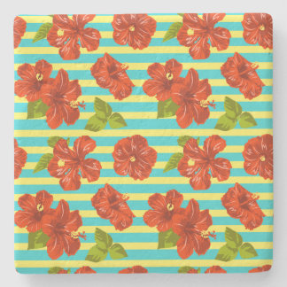 Summer Red Hibiscus Seamless Pattern Stone Coaster