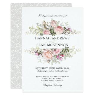 Summer Rose Garden Floral Wedding Card