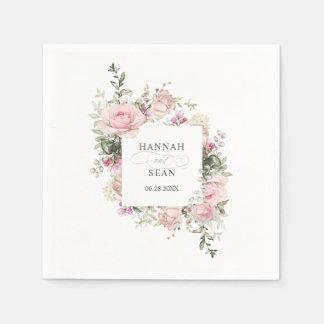 Summer Rose Garden Floral Wedding Paper Napkin