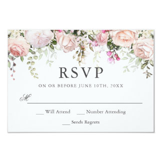 Summer Rose Garden Floral Wedding RSVP Card
