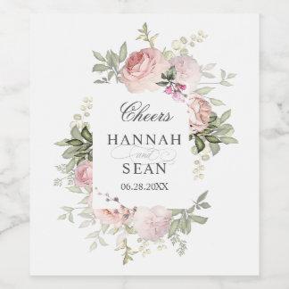 Summer Rose Garden Personalised Wedding Wine Label